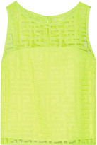Milly Neon cropped embroidered mesh top