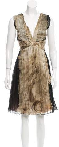 Alberta Ferretti Pleated Silk Dress w/ Tags