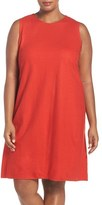 Eileen Fisher Plus Size Women's Wool Jersey Round Neck Shift Dress