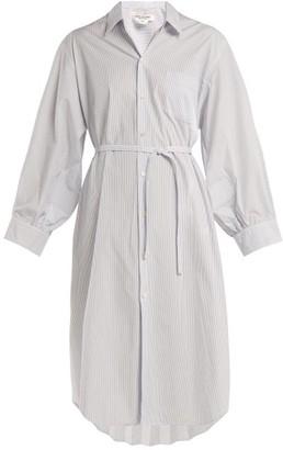 Junya Watanabe Pleat-back Striped Poplin Shirtdress - Womens - Light Blue
