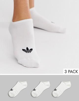 adidas 3 pack trefoil sneaker socks in white