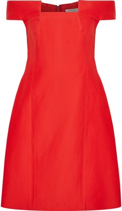 Halston Off-the-shoulder Cotton And Silk-blend Dress