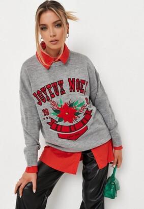 Missguided Gray Joyeux Noel Collegiate Christmas Sweater