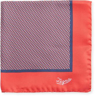 Ermenegildo Zegna Men's Round Medallions Silk Pocket Square, Red