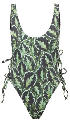 Reina Olga Bowie Leaf-print Swimsuit - Green Multi