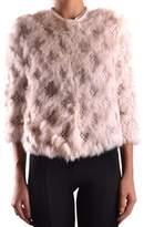 Pinko Women's Pink Wool Outerwear Jacket.