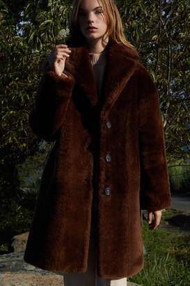 Mansur Gavriel Shearling Classic Coat - Dark Brown