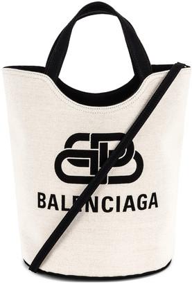 Balenciaga Medium Wave Tote in Natural & Black | FWRD