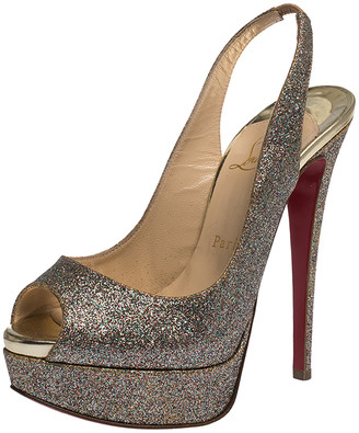Christian Louboutin Multicolor Glitter Fabric Lady Peep Toe Platform Slingback Sandals Size 36.5
