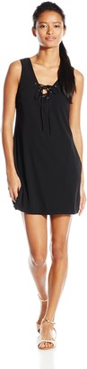 Speechless Junior's Solid Georgette A-Line Tank Dress with Lace Up Detail