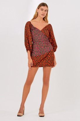 Finders Keepers YASMINE LONG SLEEVE MINI DRESS Black Blossom