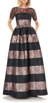 Kay Unger Alexis Stripe Floral Lace Ballgown