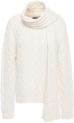 Mother of Pearl Tyler Draped Cable-knit Wool-blend Sweater