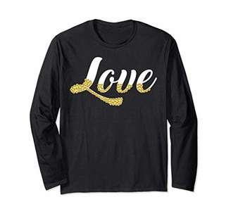 Love With Gold Sequin Design Long Sleeve T-Shirt