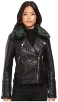 Blank NYC Vegan Leather Removeable Green Faux Fur Collar in Speaking Terms