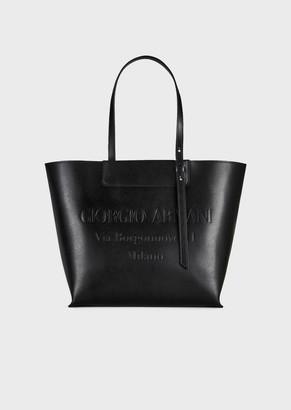 Giorgio Armani Small Leather Shopper Bag With Tone-On-Tone Embossed Logo