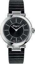 Salvatore Ferragamo Women's Swiss Style Embossed Black Leather Strap Watch 36mm FIN01 0015
