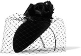 Philip Treacy Crystal-embellished Veiled Velvet Headpiece - Black