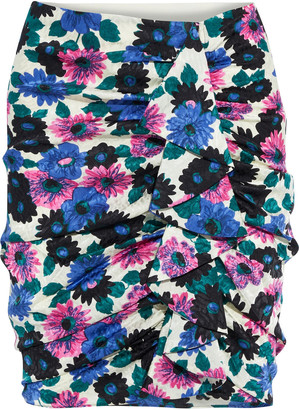 Veronica Beard Ravello Ruched Floral-print Silk-blend Satin-jacquard Mini Skirt