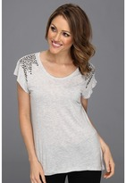 Vince Camuto TWO by S/S Tee W/Studded Shoulders (Haze Hthr) - Apparel