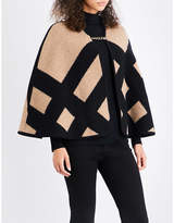 Burberry Ladies Black Luxury Wool-Cashmere Blend Blanket Cape