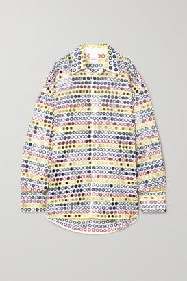 Ashish Oversized Sequin-embellished Cotton-poplin Shirt - White