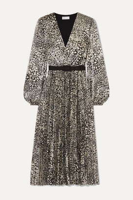 Rebecca Vallance Vienna Belted Metallic Leopard-jacquard Midi Dress - Gold
