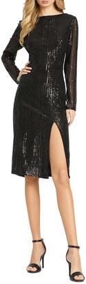 Mac Duggal Sequin Bateau-Neck Long-Sleeve Thigh-Slit Dress