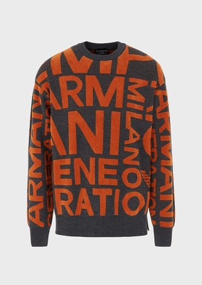 Emporio Armani Wool Blend Sweater With Oversized Jacquard Lettering
