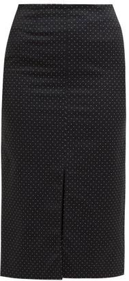 Erdem Retta Polka-dot Cotton-blend Pencil Skirt - Womens - Black White