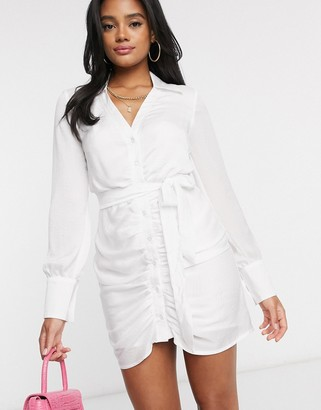 I SAW IT FIRST ruched front satin dress in white