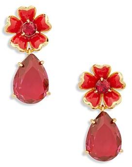 Kate Spade Blushing Blooms Pear Shaped Crystal Red Flower Drop Earrings