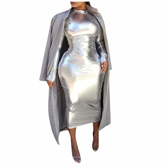 Moent Dresses for Women Casual Party Women Fashion Sexy Hight Collar Solid Long Sleeve Slim Mid-Calf Dress (Silver-L)