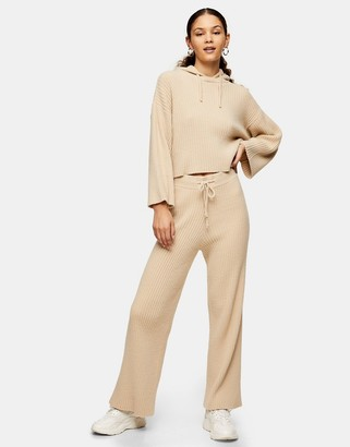 Topshop wide-leg soft ribbed trousers in beige