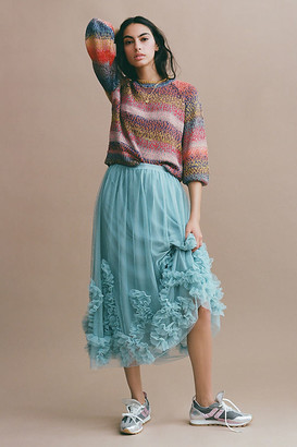 Anthropologie Felicity Ruffled Tulle Midi Skirt By in Blue Size L