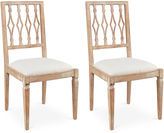 Sarreid Ltd. Off-White Linen Avice Side Chairs, Pair