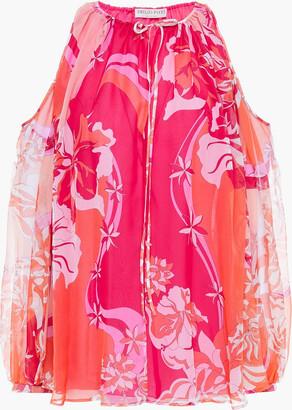 Emilio Pucci Cold-shoulder Gathered Printed Silk-georgette Top