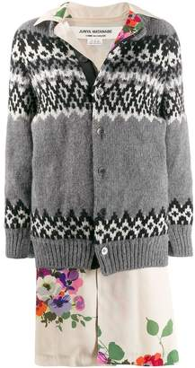 Junya Watanabe layered mixed fabric coat