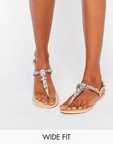 Asos Fawne Wide Fit Embellished Leather Sandals