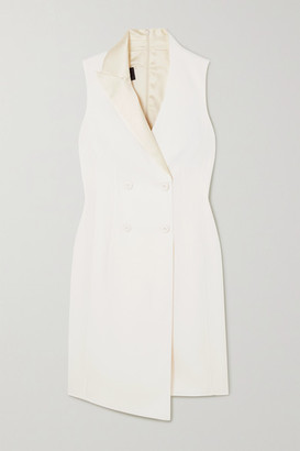 Akris Asymmetric Double-breasted Wool-blend Dress - White