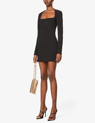 Thierry Mugler Square-neck stretch-crepe mini dress