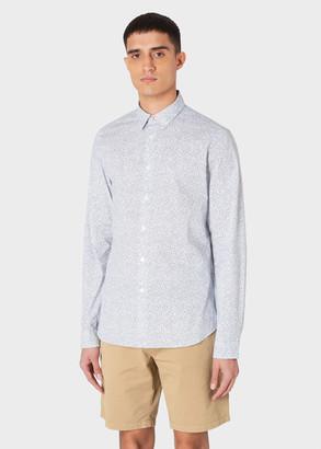 Paul Smith Men's Slim-Fit White 'Crop Doodles' Print Cotton Shirt