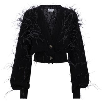 ATTICO Feather-trimmed wool cardigan