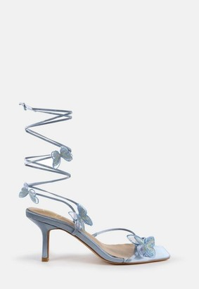 Missguided Blue Butterfly Embroidered Mid Heel Sandals