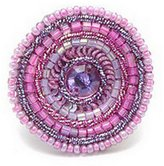 Ring Seed Bead And Sequin Confection (Dark Pink) Made With Glass by JOE COOL