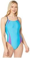 Speedo Solid Splice Flipback One-Piece (Cyan) Women's Swimsuits One Piece