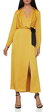BCBGMAXAZRIA Polka-Dot Sash Shirt Dress