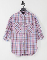 Thumbnail for your product : New Look oversized boyfriend shirt in purple check
