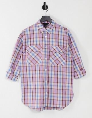 New Look oversized boyfriend shirt in purple check