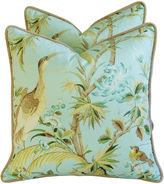 One Kings Lane Vintage Tropical Egret & Floral Pillows, Pair